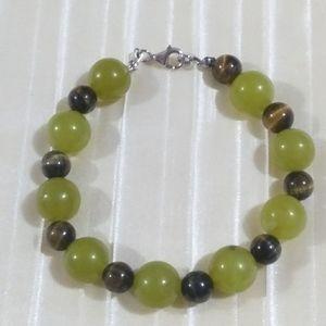 Sterling olive opal and tigers eye bracelet